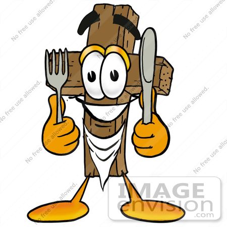 #23542 Clip Art Graphic of a Wooden Cross Cartoon Character Holding a Knife and Fork by toons4biz