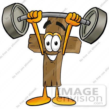 clip art graphic of a wooden cross cartoon character holding a heavy rh imageenvision com wooden cross clipart black and white