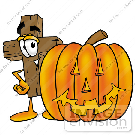 clip art graphic of a wooden cross cartoon character with a carved rh imageenvision com pumpkin carving contest clipart