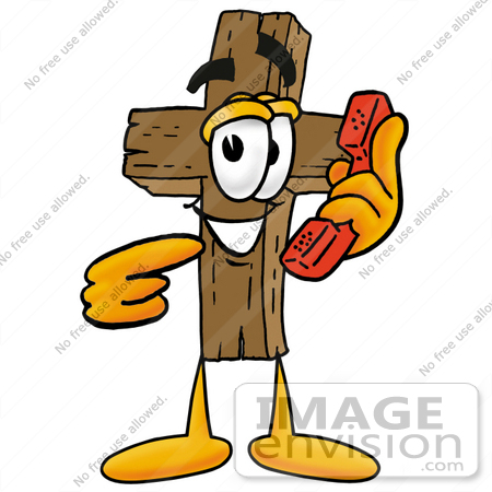 #23559 Clip Art Graphic of a Wooden Cross Cartoon Character Holding a Telephone by toons4biz