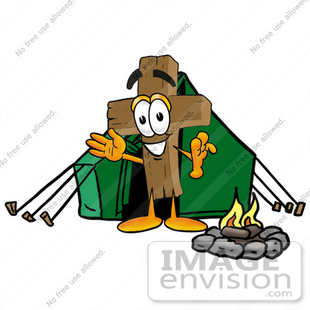 #23563 Clip Art Graphic of a Wooden Cross Cartoon Character Camping With a Tent and Fire by toons4biz
