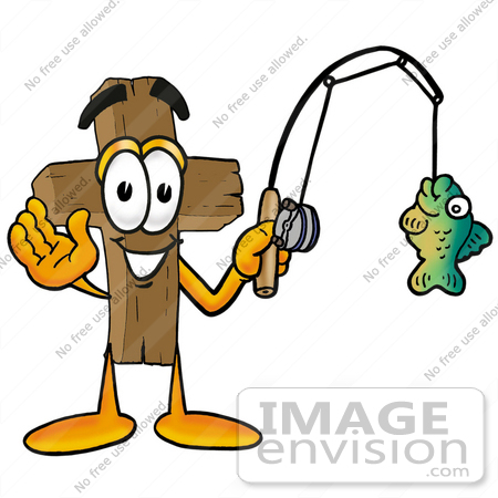 #23566 Clip Art Graphic of a Wooden Cross Cartoon Character Holding a Fish on a Fishing Pole by toons4biz