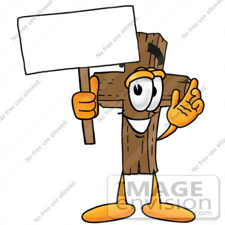 #23571 Clip Art Graphic of a Wooden Cross Cartoon Character Holding a Blank Sign by toons4biz