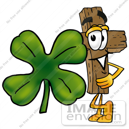 #23572 Clip Art Graphic of a Wooden Cross Cartoon Character With a Green Four Leaf Clover on St Paddy's or St Patricks Day by toons4biz