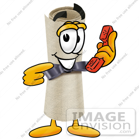 #23586 Clip Art Graphic of a Rolled Diploma Certificate Cartoon Character Holding a Telephone by toons4biz