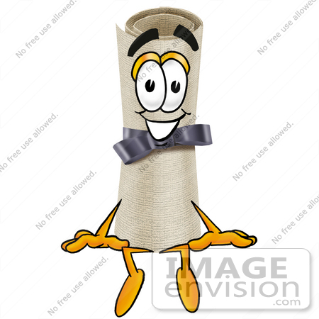 #23599 Clip Art Graphic of a Rolled Diploma Certificate Cartoon Character Sitting by toons4biz