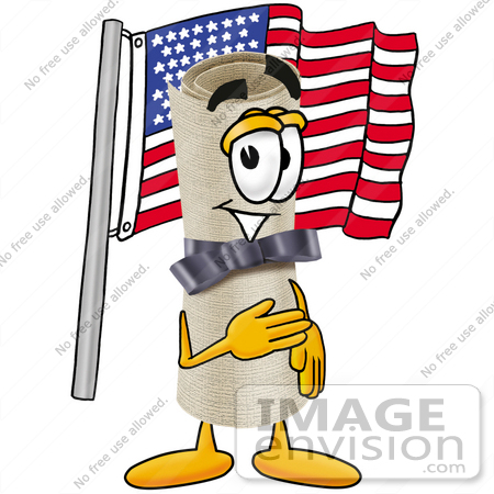 #23604 Clip Art Graphic of a Rolled Diploma Certificate Cartoon Character Pledging Allegiance to an American Flag by toons4biz