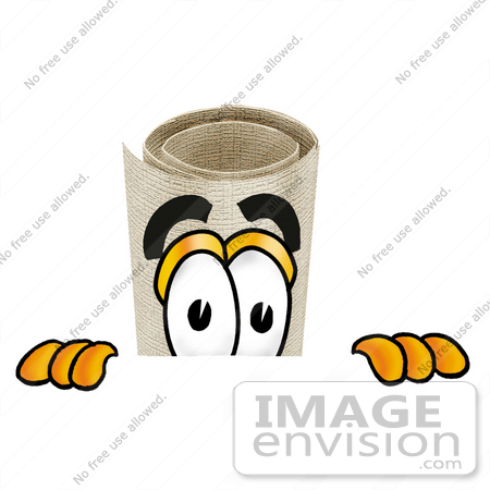 #23605 Clip Art Graphic of a Rolled Diploma Certificate Cartoon Character Peeking Over a Surface by toons4biz
