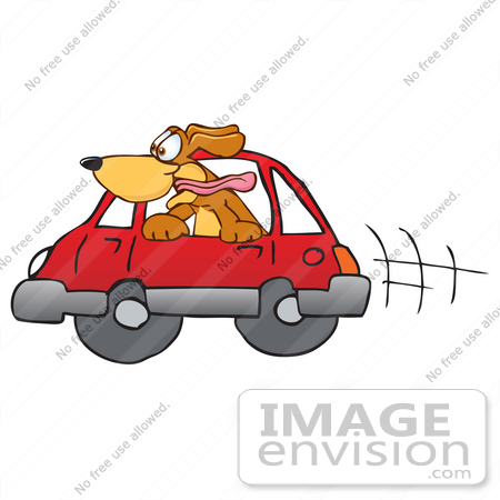 #23617 Clip Art Graphic of a Cute Brown Hound Dog Cartoon Character Riding in a Red Car by toons4biz
