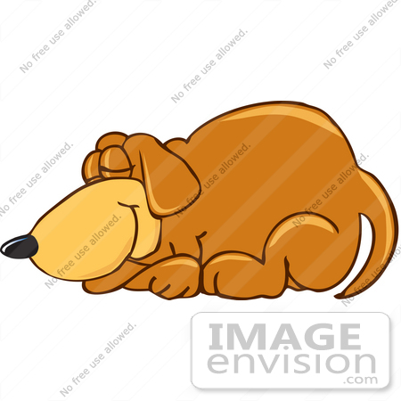 #23619 Clip Art Graphic of a Cute Brown Hound Dog Cartoon Character Curled