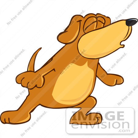 #23622 Clip Art Graphic of a Cute Brown Hound Dog Cartoon Character Howling by toons4biz