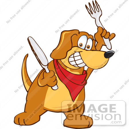 #23630 Clip Art Graphic of a Hungry Brown Hound Dog Cartoon Character Holding a Knife and Fork by toons4biz