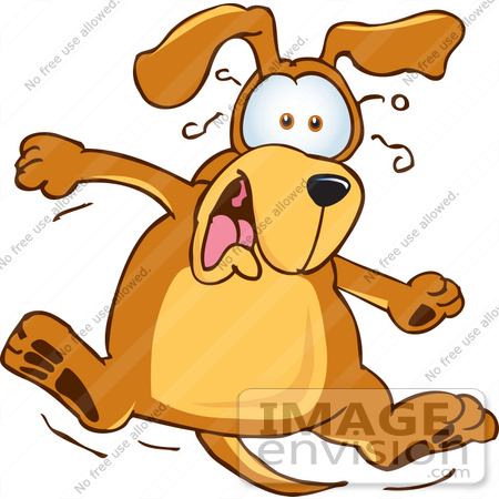 #23639 Clip Art Graphic of a Scared Brown Hound Dog Cartoon Character by toons4biz