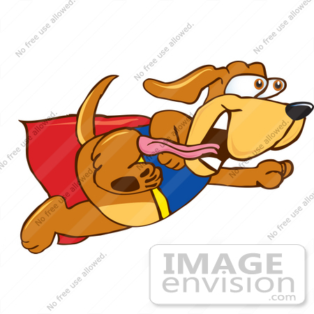 Clip Art Graphic of a Cute Brown Super Hero Hound Dog Cartoon ...