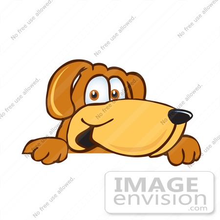 #23642 Clip Art Graphic of a Cute Brown Hound Dog Cartoon Character Peeking Over a Surface by toons4biz