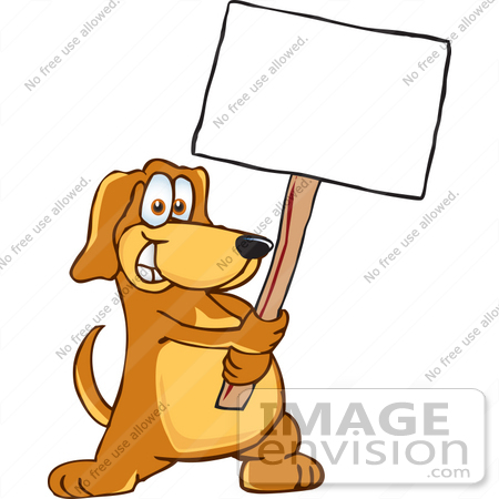 #23643 Clip Art Graphic of a Cute Brown Hound Dog Cartoon Character Holding a Blank Sign by toons4biz