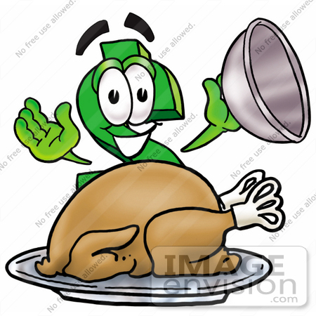 #23697 Clip Art Graphic of a Green USD Dollar Sign Cartoon Character Serving a Thanksgiving Turkey on a Platter by toons4biz