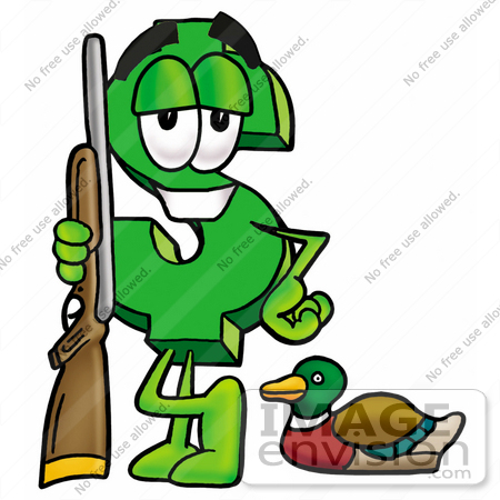 #23708 Clip Art Graphic of a Green USD Dollar Sign Cartoon Character Duck Hunting, Standing With a Rifle and Duck by toons4biz
