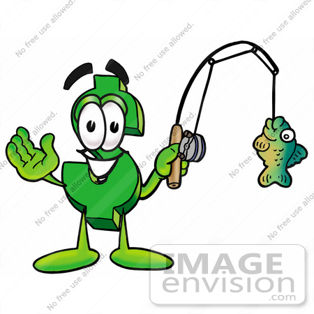 #23711 Clip Art Graphic of a Green USD Dollar Sign Cartoon Character Holding a Fish on a Fishing Pole by toons4biz