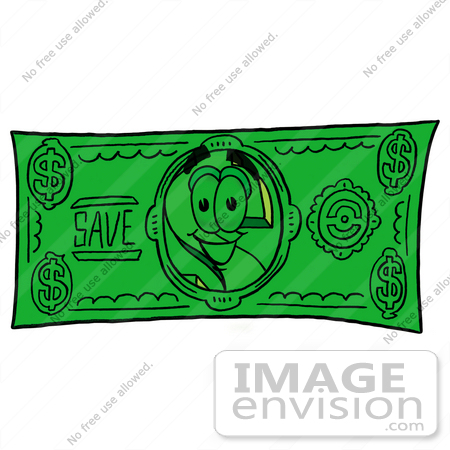 #23712 Clip Art Graphic of a Green USD Dollar Sign Cartoon Character on a Dollar Bill by toons4biz