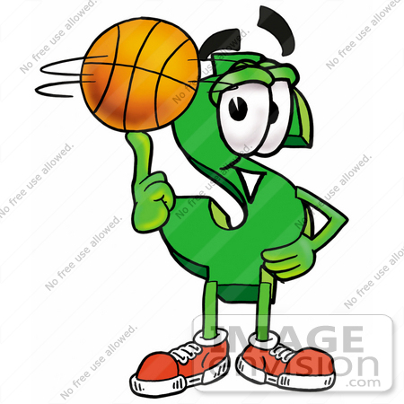 #23713 Clip Art Graphic of a Green USD Dollar Sign Cartoon Character Spinning a Basketball on His Finger by toons4biz