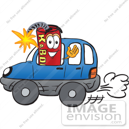 #23757 Clip Art Graphic of a Stick of Red Dynamite Cartoon Character Driving