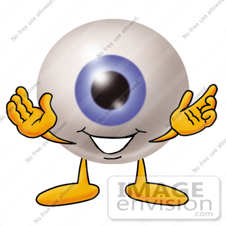 #23765 Clip Art Graphic of a Blue Eyeball Cartoon Character With Welcoming Open Arms by toons4biz