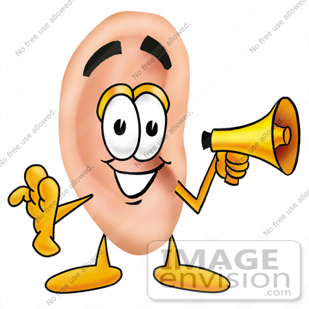 #23815 Clip Art Graphic of a Human Ear Cartoon Character Holding a Megaphone by toons4biz