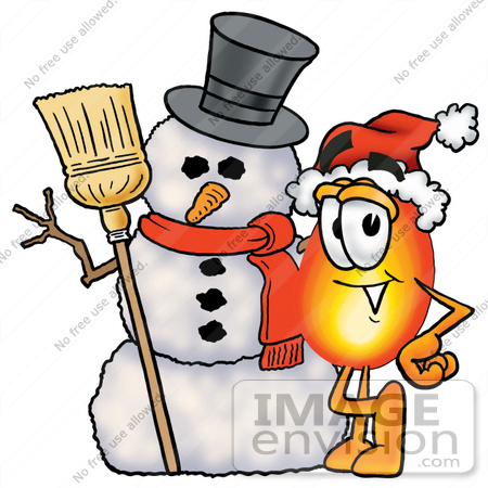 #23886 Clip Art Graphic of a Fire Cartoon Character With a Snowman on Christmas by toons4biz