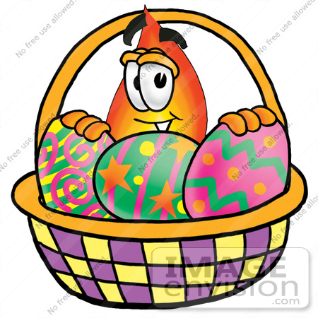 23896 Clip Art Graphic Of A Fire Cartoon Character In An Easter Basket Full