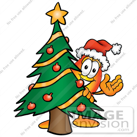 Clip Art Graphic Of A Fire Cartoon Character Waving And Standing  - Christmas Trees On Fire