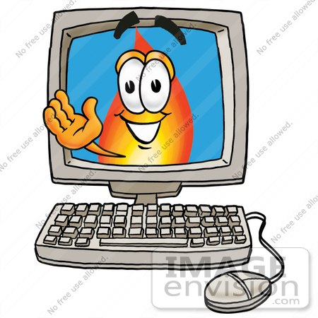 #23917 Clip Art Graphic of a Fire Cartoon Character Waving From Inside a Computer Screen by toons4biz
