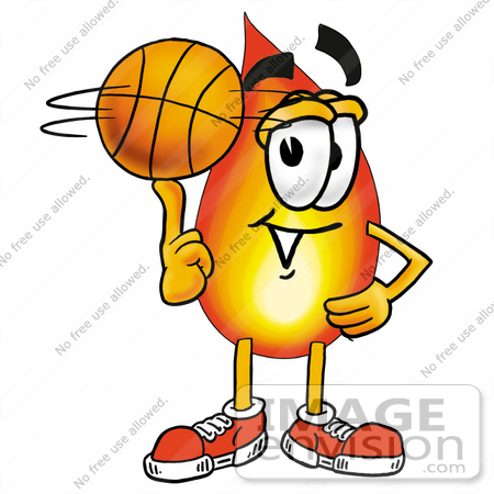 #23920 Clip Art Graphic of a Fire Cartoon Character Spinning a Basketball on His Finger by toons4biz