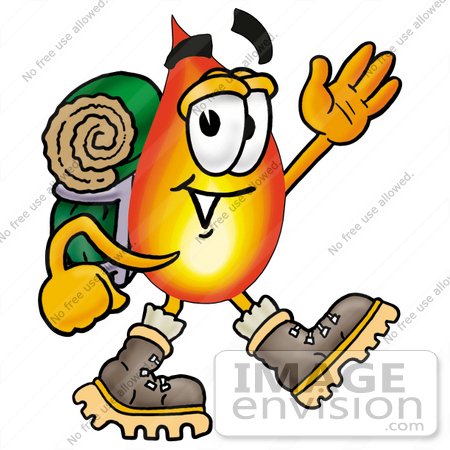 #23921 Clip Art Graphic of a Fire Cartoon Character Hiking and Carrying a Backpack by toons4biz