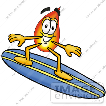 #23926 Clip Art Graphic of a Fire Cartoon Character Surfing on a Blue and Yellow Surfboard by toons4biz