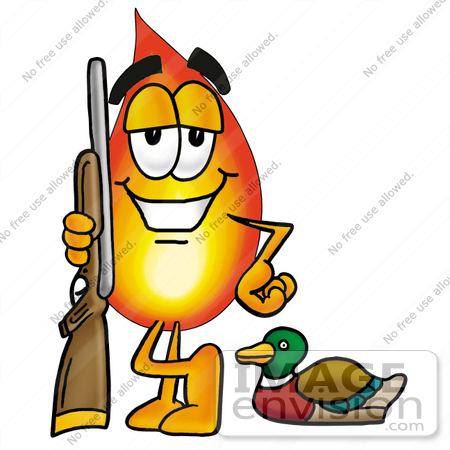 #23930 Clip Art Graphic of a Fire Cartoon Character Duck Hunting, Standing With a Rifle and Duck by toons4biz