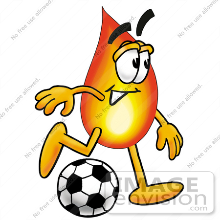 #23945 Clip Art Graphic of a Fire Cartoon Character Kicking a Soccer Ball by toons4biz