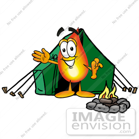 #23949 Clip Art Graphic of a Fire Cartoon Character Camping With a Tent and Fire by toons4biz