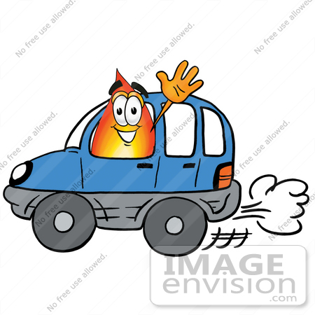 #23950 Clip Art Graphic of a Fire Cartoon Character Driving a Blue Car and