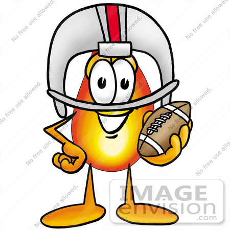 #23954 Clip Art Graphic of a Fire Cartoon Character in a Helmet, Holding a