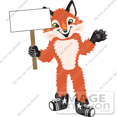 #23961 Clipart Picture of a Fox Mascot Cartoon Character Holding a Blank Sign by toons4biz