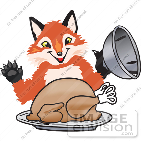 Clipart Picture of a Fox Mascot Cartoon Character Serving ...