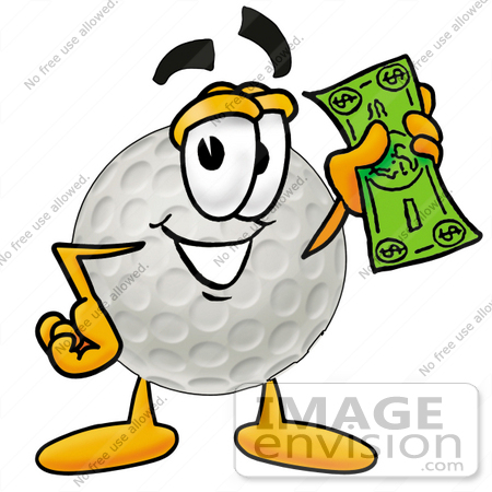 #23978 Clip Art Graphic of a Golf Ball Cartoon Character Holding a Dollar