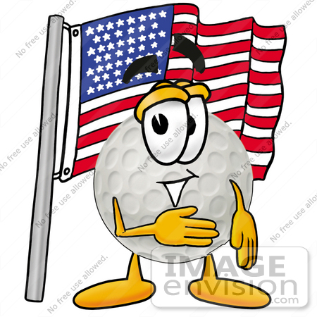 #23980 Clip Art Graphic of a Golf Ball Cartoon Character Pledging Allegiance to an American Flag by toons4biz