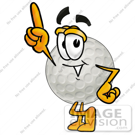 #23989 Clip Art Graphic of a Golf Ball Cartoon Character Pointing Upwards by
