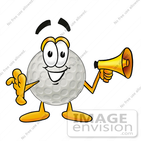 #23993 Clip Art Graphic of a Golf Ball Cartoon Character Holding a Megaphone by toons4biz