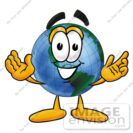 Clip Art Graphic of a World Globe Cartoon Character With Welcoming ...