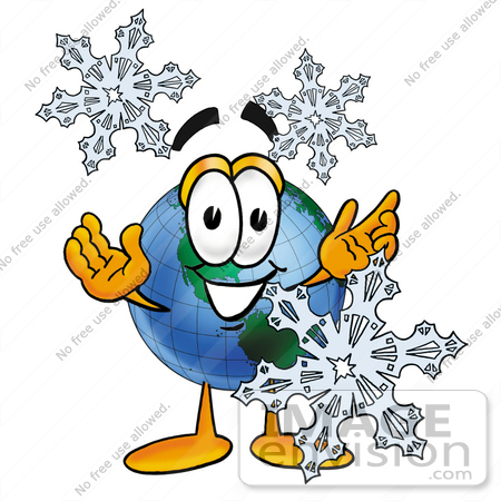#24007 Clip Art Graphic of a World Globe Cartoon Character With Three Snowflakes in Winter by toons4biz