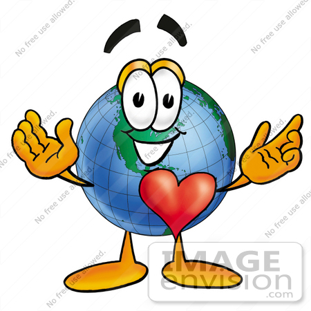 #24008 Clip Art Graphic of a World Globe Cartoon Character With His Heart Beating Out of His Chest by toons4biz