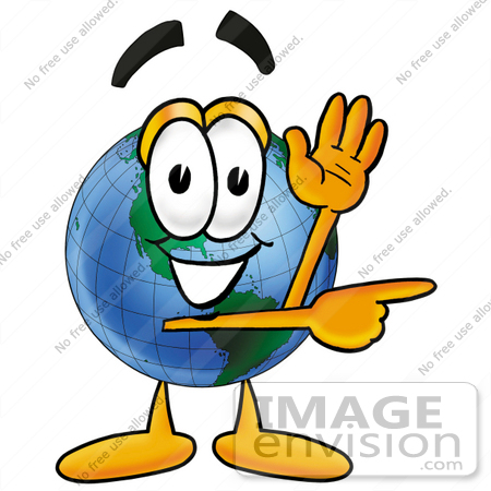Clip Art Graphic of a World Globe Cartoon Character Waving and ...